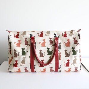 Signare Cats print tapestry travel bag fabric zip
